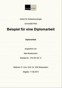 Beispiel für die Titelseite einer Diplomarbeit