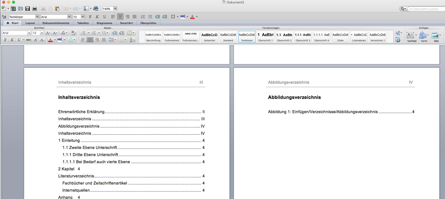 Formatierung der Diplomarbeit mittels Formatvorlage für ein rasches und effizientes Arbeiten