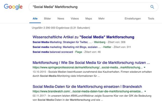 """Unterkapitel Stichwortkombinationen, zum Beispiel """"Social Media"""" Marktforschung"""